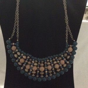 Teal Beaded Patterned Double Chained Necklace